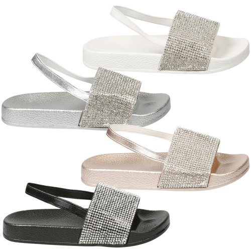 Sue Girls Kids Flat Low Heels Slip On Diamante Slip On Pool Sliders Sandals Size