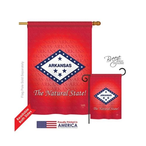 Breeze Decor 08137 States Arkansas 2-Sided Vertical Impression House Flag - 28 x 40 in.