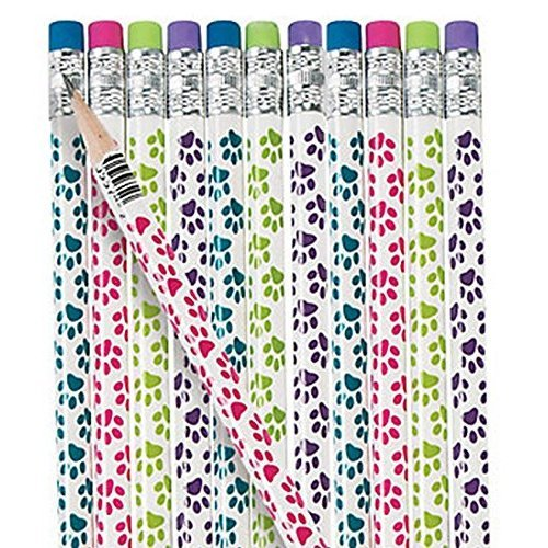 Pack of 12 - Paw Prints Wooden Pencils with Erasers - Great Stocking Party Loot Bag Fillers