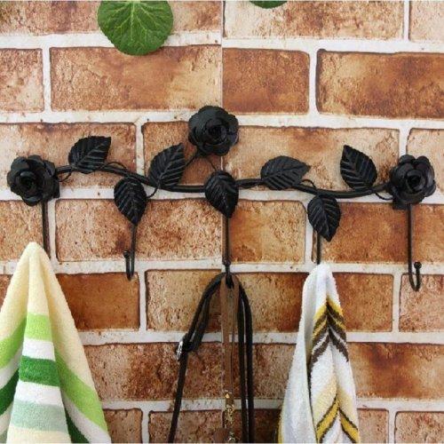 5 Hooks Wall Hanger Bathroom Flowers Leaves Metal Door Hook Clothes Towel Rack