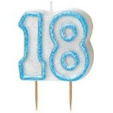 Age 18 Birthday Candle Blue Glitz