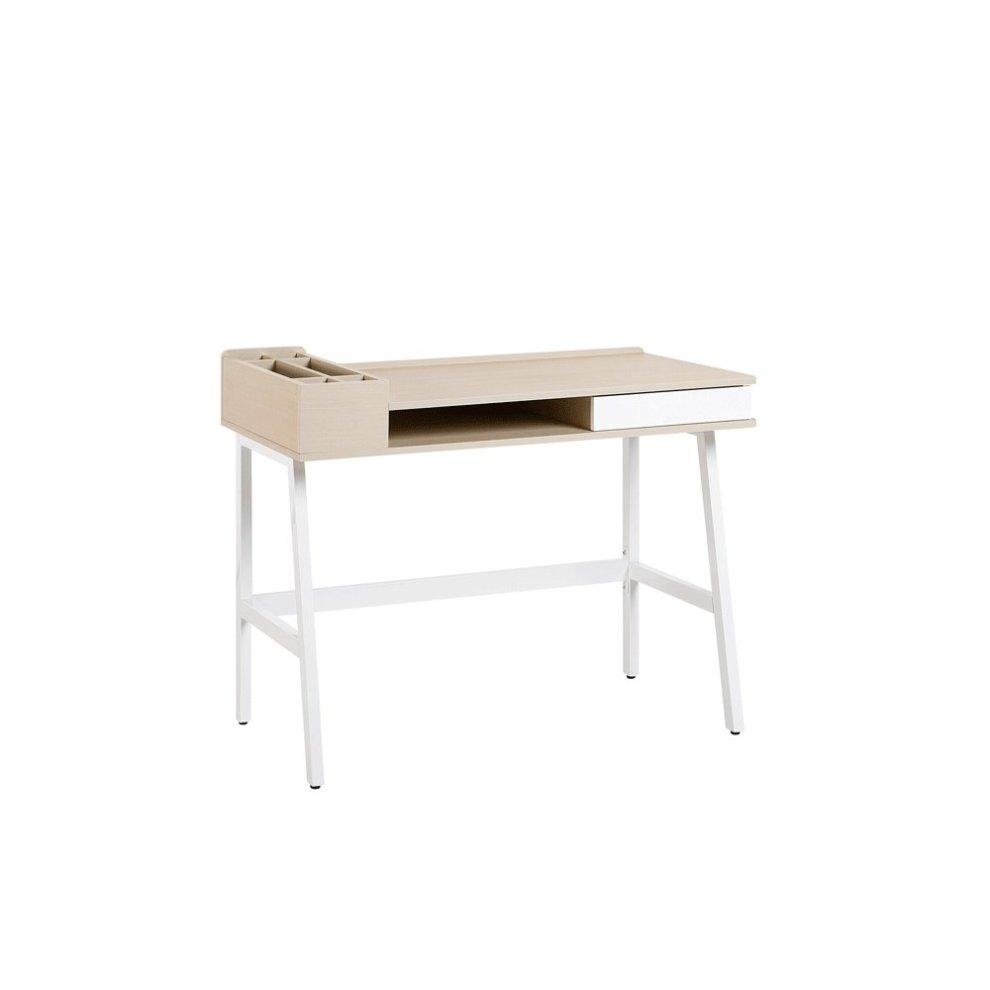 Prime Home Desk 100 X 55 Cm Light Wood And White Paramaribo Download Free Architecture Designs Embacsunscenecom