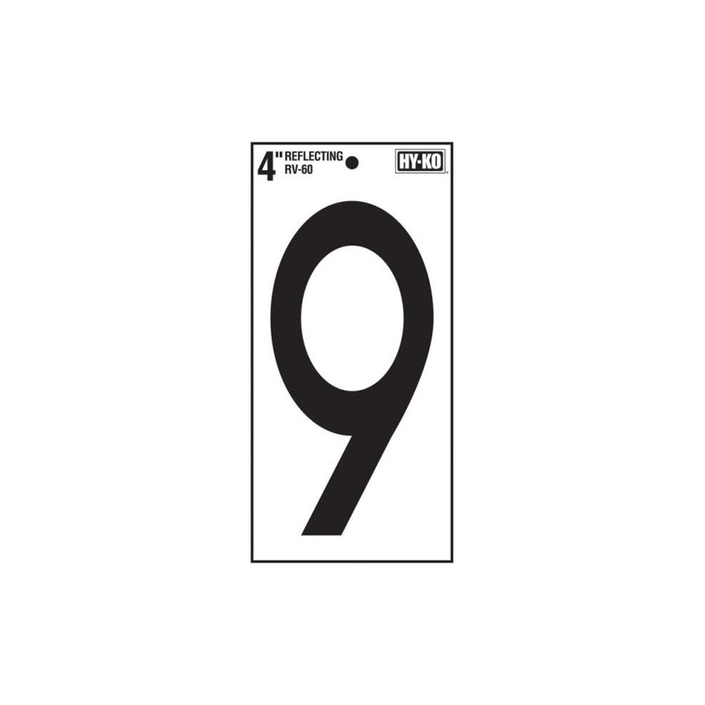 Hy ko rv 60 9 number 9 vinyl lettering reflective house 4 in pack of 10 on onbuy