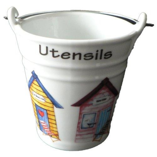 Beach Hut utensil holder. Fun bucket shaped ceramic utensil pot