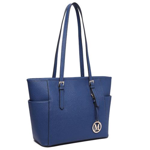 Miss Lulu Women Adjustable Shoulder Handbag Leather Tote Bag Navy