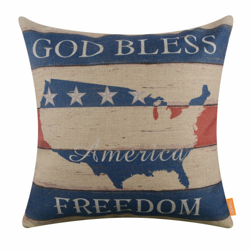 """18""""x18"""" Independence Day God Bless America Holiday Burlap Pillow Cover Cushion Cover"""