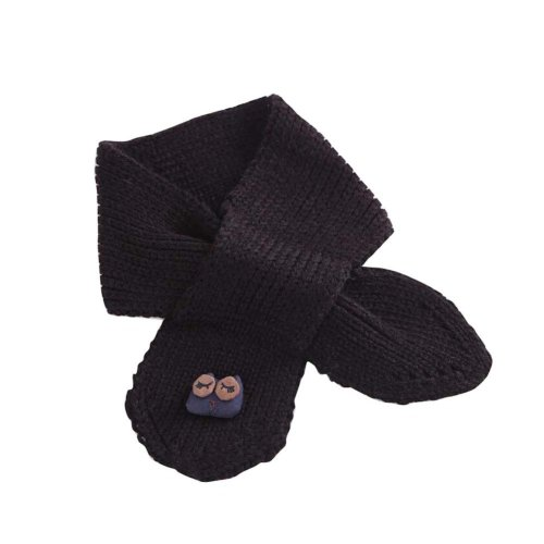 Cute Owl Knitted Baby Scarf Winter Neck Warmer-Black