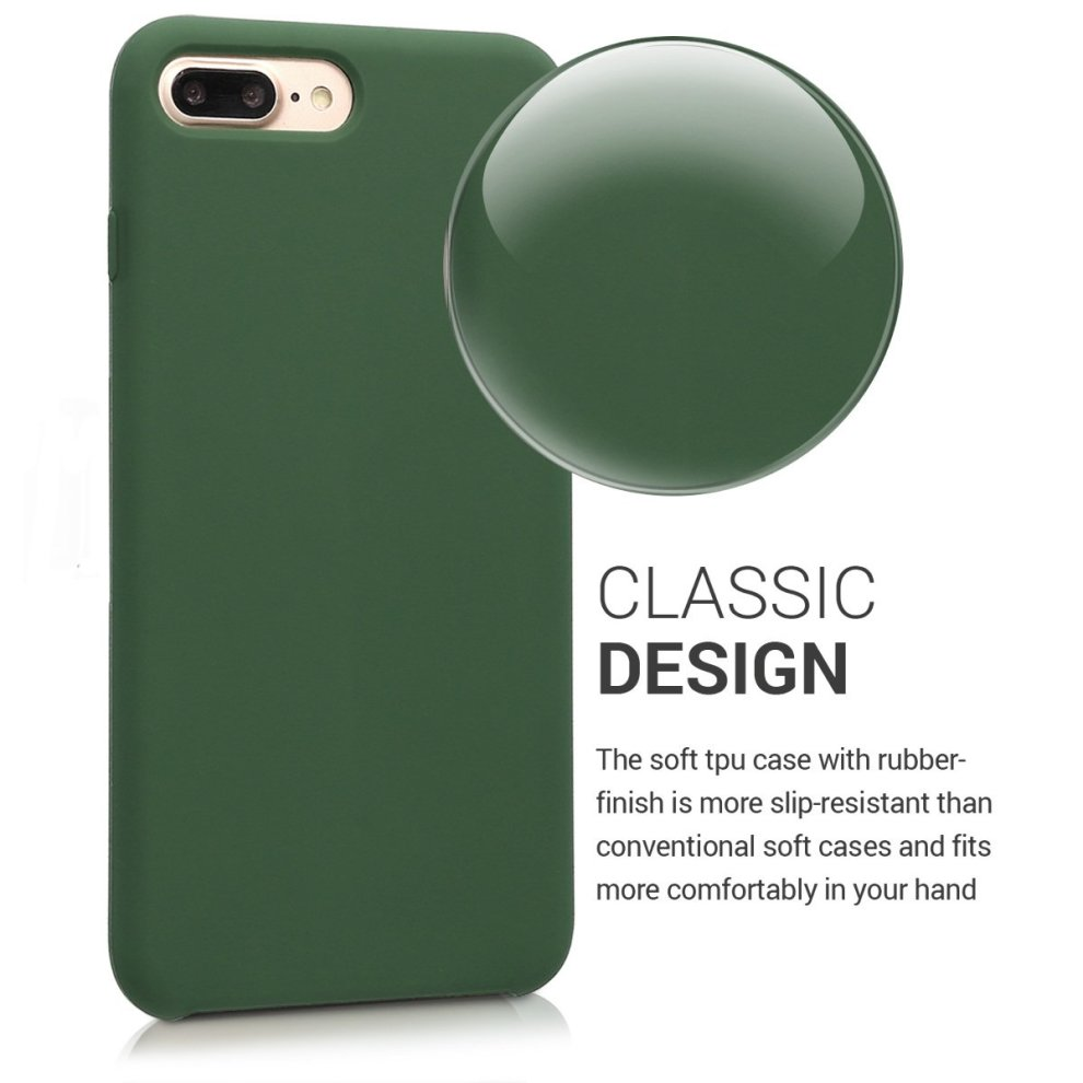 official photos d3b94 985d7 kwmobile TPU Silicone Case for Apple iPhone 7 Plus / 8 Plus - Soft Flexible  Rubber Protective Cover - Dark Green