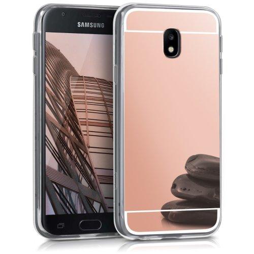kwmobile Mirror Case for Samsung Galaxy J3 (2017) DUOS - TPU Silicone  Bumper Protective Cover Reflective Back Case - Rose Gold Reflective