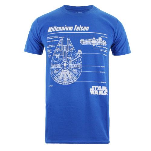 35f3228fd Star Wars Falcon Blueprint Mens T-shirt Blue on OnBuy