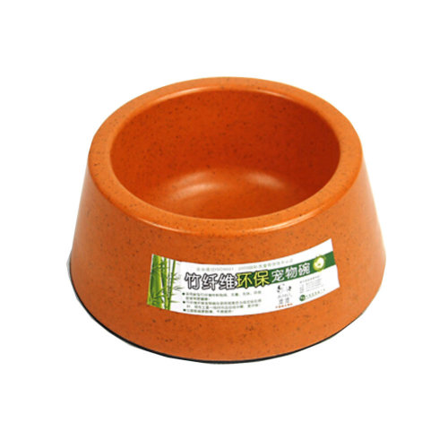 650ML Bamboo Fiber Cat Food Bowl,Non-toxic Tasteless Pet Bowl,ORANGE (15*7.5cm)