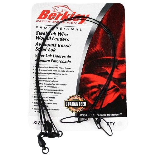 Berkley Wire-Wound Steelon Leaders 6 Length, 30 lb Line Tested, Black, Per 3
