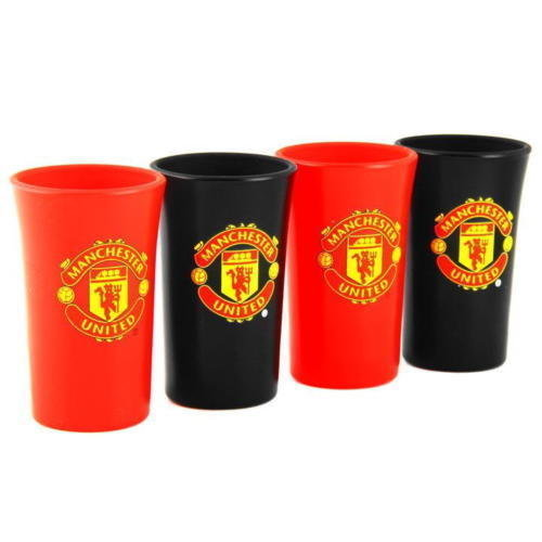 Manchester United 4pk Coloured Shot Glass - Set 4 Football Glasses -  manchester united set 4 football shot glasses