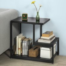 SoBuy® FBT65-SCH, 2 Tiers Side Table End Table Coffee Table, Black