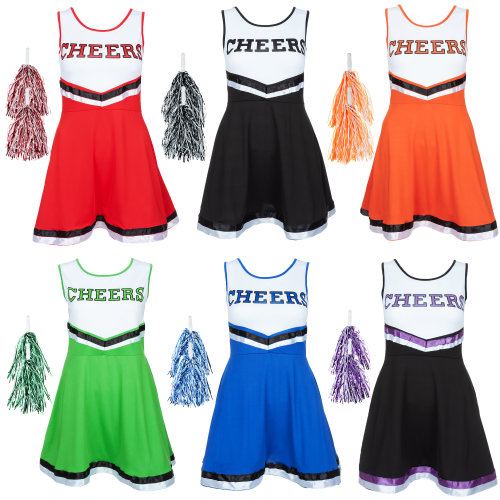 Ladies Cheerleader Fancy Dress Outfit Uniform