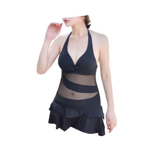 One-piece Chest Gathered Swimsuit/Female Skirt Swimming Apparel, Black