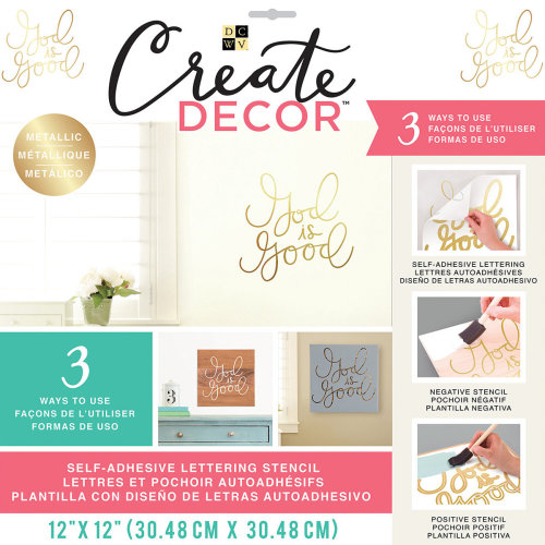 """Dcwv Create Decor Self-Adhesive Lettering & Stencil 12""""X12""""-God Is Good-Gold"""