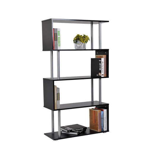 Homcom 4-Tier S-Shaped Bookcase   Black Room Divider Shelves
