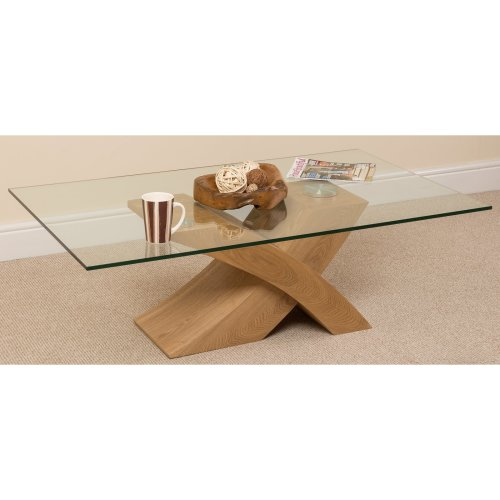 Milano Wood Veneer and Glass Coffee Table Living Room Furniture