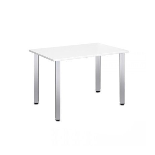 Computer Desk Office Dining Table Workstation Aluminium Legs Square White Top 120x80cm