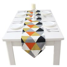 1pc Creative Geometry Style Cotton Table Top Decoration Red Table Runner