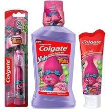 Colgate Trolls Poppy Kids Toothbrush & Mouthwash Bundle: 3 Items  Powered Toothbrush, Mild Bubble Fruit Toothpaste, Bubble Fruit Mouthwash
