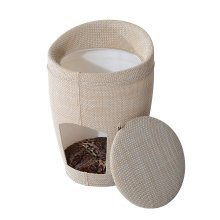 Pawhut 2 in 1 Pet House Cat Tree Condo Linen Sleeping Bed Cave Furniture Sit Hide Cushion W/ Padded Mat (51cm)