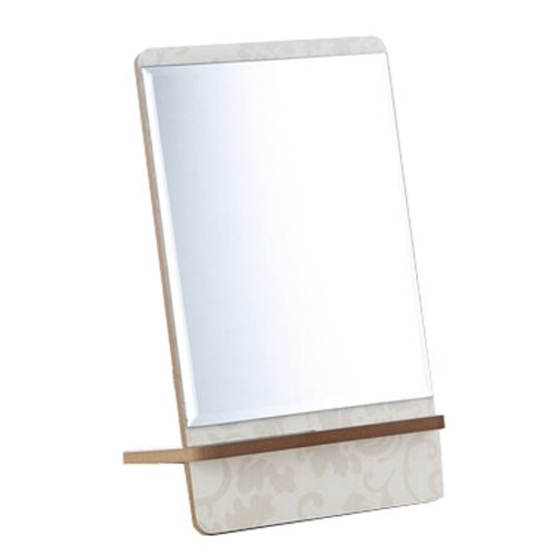 "Classical Wooden Mirror Single-sided Vanity Mirror Tabletop Makeup Mirror 5.90""x10.51""(White)"