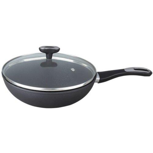 28cm Frying pan Non Stick Deep Wok & Lid, Induction Friendly Forged Aluminium