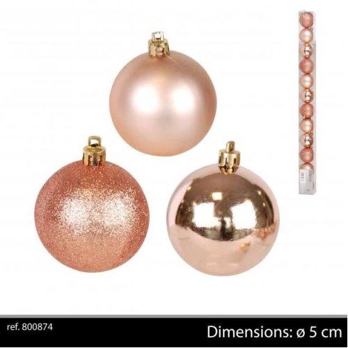 Christmas Baubles.12pk Christmas Baubles Rose Gold D5