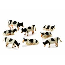 1:87 Kids Globe Farm Pack Of 8 Cows - Mucca Biancanera Pz 187 Toys -  globe mucca biancanera 8 pz 187 toys