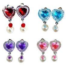 Set Of 4 No Pierced Earrings Female Child Pendant Ear Clips Random Color