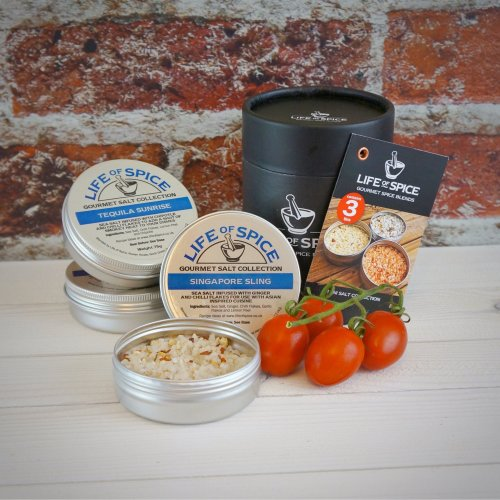 Life of Spice Mini Salt Collection - Sea Salt, Rosemary, Basil, Ginger, Garlic, Chipotle and Chilli Flakes