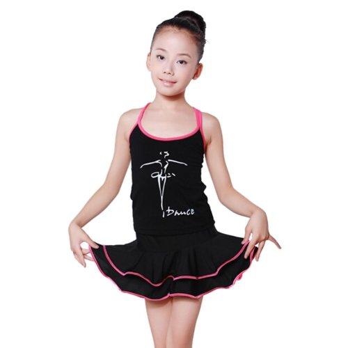 PINK Girls Performance Dancing Clothes Latin Dance Dress, 110-120CM Height