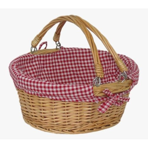 Large Swing Handle Shopping Basket with Red and White Check
