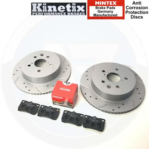 FOR LEXUS IS200d 10-12 REAR DRILLED GROOVED BRAKE DISCS MINTEX PADS 310mm