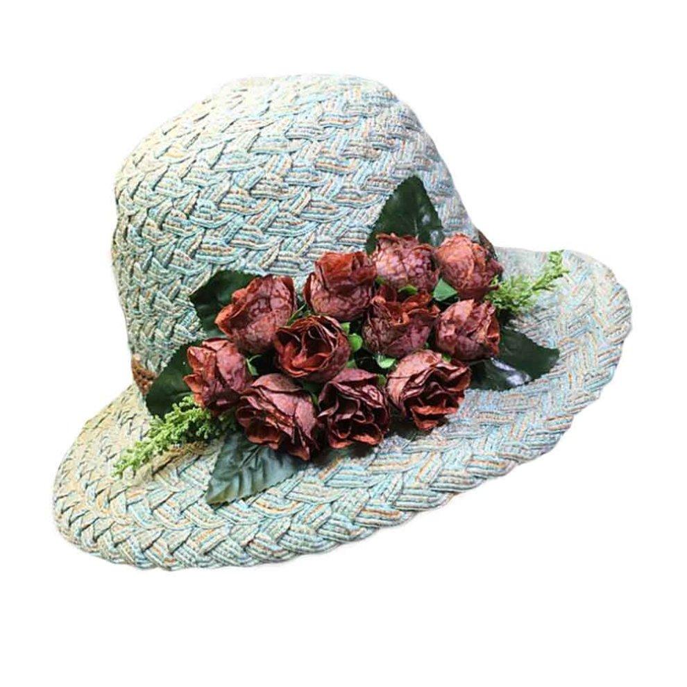 d158a7853b497 Flower Wide Brim Beach Hat Summer Folding Straw Hat Retro Style Bucket Hat  ...