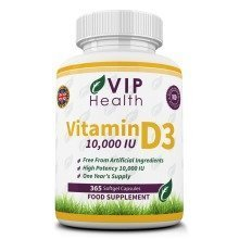 Vitamin D3 10,000 IU 365 Softgels (Full Year Supply) by VIP Health - High Strength Vitamin D the 'Sunshine Vitamin' 10,000IU D-3