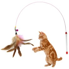 """DIGIFLEX Pet Play Teasing 36"""" Bouncy Rod with Bell and Feathers"""