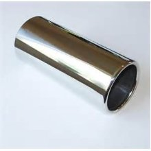 55cm - 65mm Silver Round Stainless Steel Exhaust Tip - Etech Simple Fit Trim 55 - E-tech Silver Stainless Steel Simple Fit Round Exhaust Tip Trim