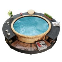 Black Poly Rattan Spa Surround