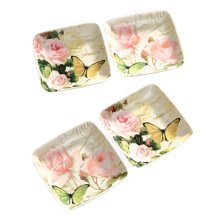 Set Of 4 Tasting Square Dishes Set Ceramic Dipping Sauce Dishes,Butterfly&Rose