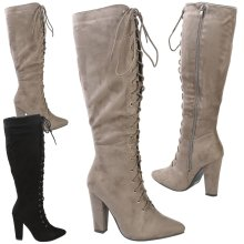 Peyton Womens High Block Heel Lace Up Pointed Toe Mid Calf Boots
