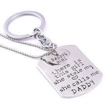 Daddy's Girl Keyring and Necklace Set Silver Two Piece Set