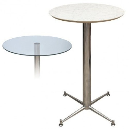 Payson Tall Poseur Kitchen Dining Table Marble or Granite Table Top Table 4 Leg or Stainless Steel Frame 70cm Square(369) Brushed Steel Nero - Granite