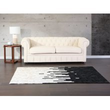 Carpet black - cream - rug - leather - BOLU