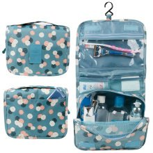 TRIXES Blue Floral Compact Storage Hanging Toiletry Bag Various Pockets Travel and Beauty