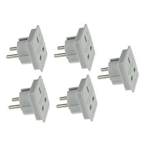 High Grade - [5 PACK] Travel Adapter Converts UK Plug to 2 pin (Round) EU Plug - Continental / European Adaptor - Works in Brazil / Egypt / Israel...