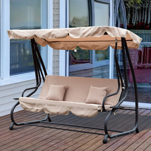 Outsunny Convertible 3- Seater Swing Chair-Beige