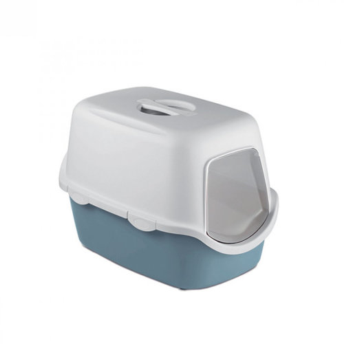 Cathy Hooded Cat Toilet White / Steel Blue With Filter 56x40x40cm